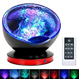 Ocean Wave Projector, Night Light Lamp with Adjustable Lightness Remote Control Timer 8 Lighting Modes Music Speaker Light Show LED Night Light Projector Lamp for Baby Kids Adult Bedroom Living Room