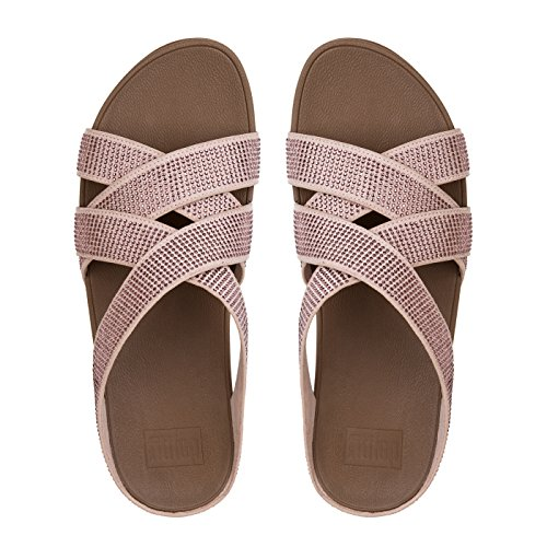 Fitflop Slinky Rokkit Criss Cross, Sandali con Tacco Donna Rosa (Nude Crystal)
