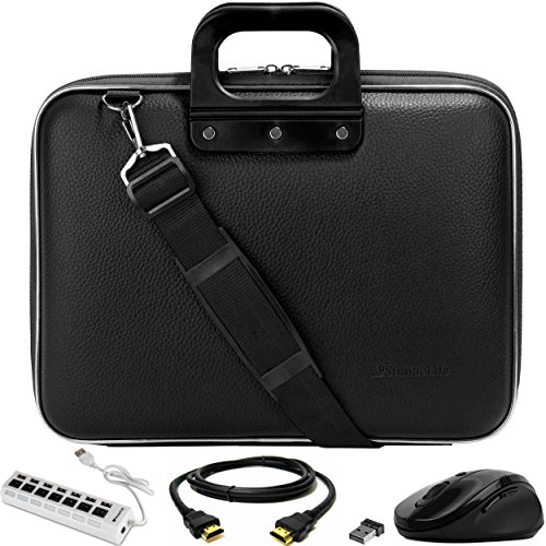 SumacLife Cady Jet Black Laptop Messenger Bag Carrying Case w/Mouse, USB Hub, HDMI Cable for Dell Inspiron 15/Latitude 15/XPS 15/Precision/Vostro 15.6