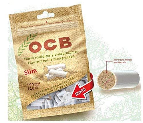 OCB - Boquillas de filtro para cigarrillos (material organico, 10 paquetes con 120 unidades, 6 mm)