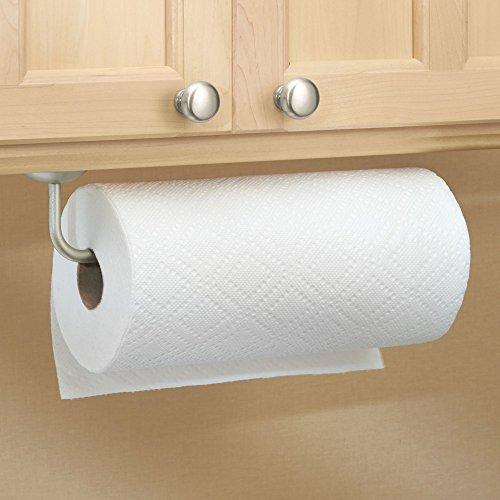 mDesign Wall Mount Paper Towel Holder for Kitchen - Satin - bedroomdesign.us