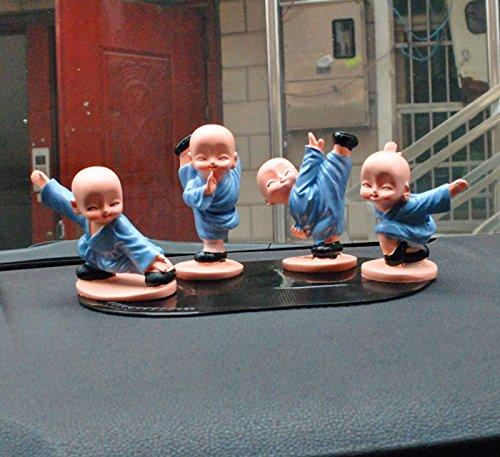 4pcs Cute KongFu Monk Car Interior Display Decoration Car Dashboard Ornament Car Home Decor - Gifts Home Interiors