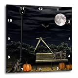 3dRose dpp_28894_2 Autumn Night in The Park with Black Cats and Pumpkins-Wall Clock, 13 by 13-Inch For Sale