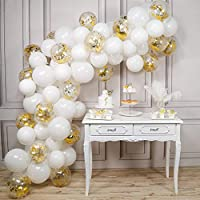 PartyWoo White and Gold Balloons, 100 pcs 12 Inch White Balloons and Gold Confetti Balloons, White and Gold Balloons Pack for White and Gold Baby Shower Decorations, White and Gold Wedding Decorations