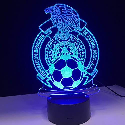 QIANDONG1 Football Soccer Mexico Team Acrylic Panel 7 Colors Change Led Base 3D Lamp Night Light New Year Gifts Family Decoration -