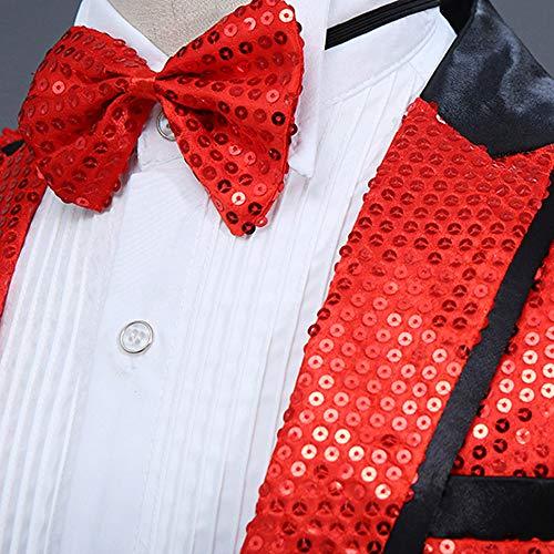 Pièces Simple La Revers Mode Rouge Chemise Les Performance Blouse Gentilhomme Tops Blazer Adeshop Paillette 2 Costume Papillon Loisirs Veste Hommes Nœud Homme Hôte Manteau Boucle Slim qInOE0Hw
