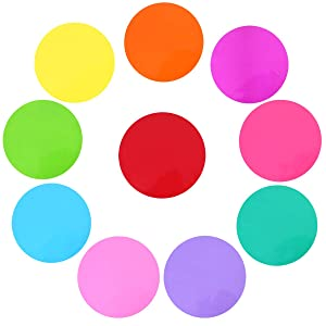 """Buytra 10 Pack 11.8"""" Colorful Dry Erase Circles for Classroom Tables Desk, White Board Marker Removable Vinyl Dot Circle Set Wall Decals for Students, Teachers"""