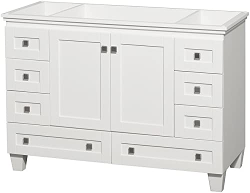 Wyndham Collection Acclaim 48 inch Single Bathroom Vanity in White, No Countertop, No Sink, and No Mirror