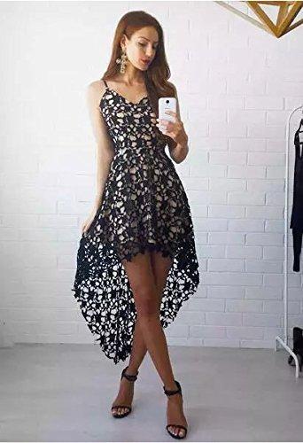 Line High Spaghetti Low Black Patty A Lace Women's Bestdress V Neck Fashion Straps Dress xzIwtnfq8R