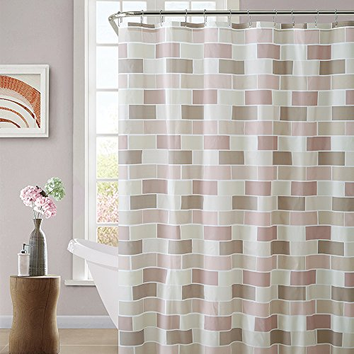 Ridgeover Mildew Resistant Anti-Bacterial PEVA Shower Curtain with Hooks, 72 x 72, Waterproof, Non-Toxic and Eco-Friendly, Stylish Design, 12 Standard Grommets