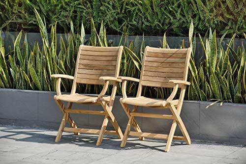 Amazonia Teak Dublin 2-Piece Teak Folding Armchairs (Outdoor Table Zinc Dining)