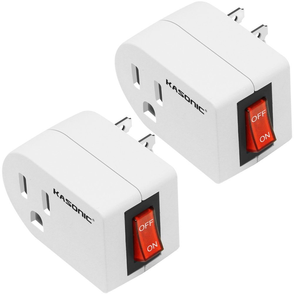 Grounded Outlet Adapter 2 Pack, Kasonic 3 Prong Grounded Single Port Power Adapter; with On/Off Switch, Red Indicator, Energy Saving, ETL Listed, Wall Tap Adapter for Home/Office