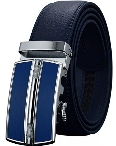 Leather Belts for Men's Ratchet Dress Belt Black - Blue Belt Buckle