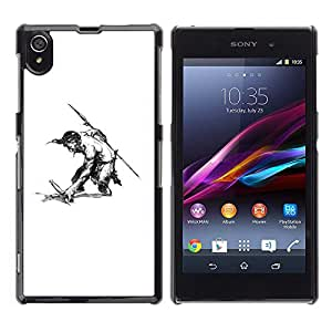 Shell-Star Art & Design plastique dur Coque de protection rigide pour Cas Case pour Sony Xperia Z1 / L39H / C6902 / C6903 / C6906 / C6916 / C6943 ( Man Warrior Sword Spear Shirtless Drawing Art )