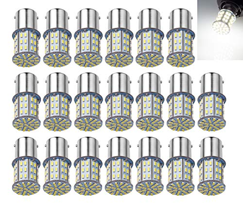 AOKEzl Extremely Bright 1156 1141 BA15S 7506 64-SMD 3014 LED Bulbs for Car Interior RV Camper 6000K Xenon White Pack of 20