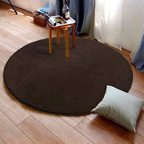MAYSHINE Round39 inch Brown Non-slip Soft Microfber Mat Luxurious Area Rug Machine-washable for  ...
