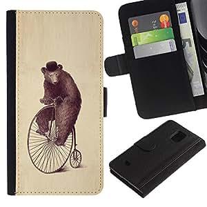KingStore / Leather Etui en cuir / Samsung Galaxy S5 Mini, SM-G800 / Arte Oso Rueda Dibujo Acuarela Lápiz Sombrero