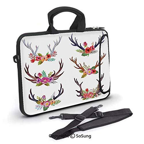 17 inch Laptop Case,Deer Horns Bouquet Flowers Bloom Fun Springtime Garden Branches Decorative Neoprene Laptop Shoulder Bag Sleeve Case with Handle and Carrying & External Side Pocket,for Netbook/MacB