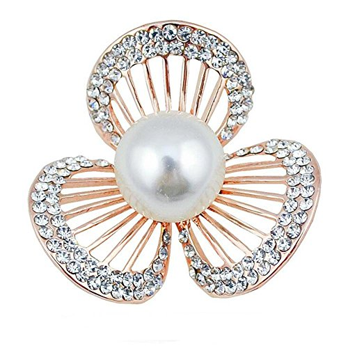 DB&PEISHI 3pcs Clover natural freshwater pearl brooch. Full of hollow diamond flower boutonniere , (Diamond Freshwater Brooch)
