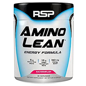 RSP AminoLean – Energized BCAA Amino Acid & Weight Loss Formula to Support Muscle Growth, Recovery, Performance, and Fat Loss, Watermelon, 30 servings