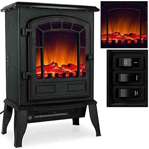 Elektro-Kamin mit Heizung und Kaminfeuer-Effekt 2000W schwarz / weiß Flammeneffekt Flammenambiente Ofen