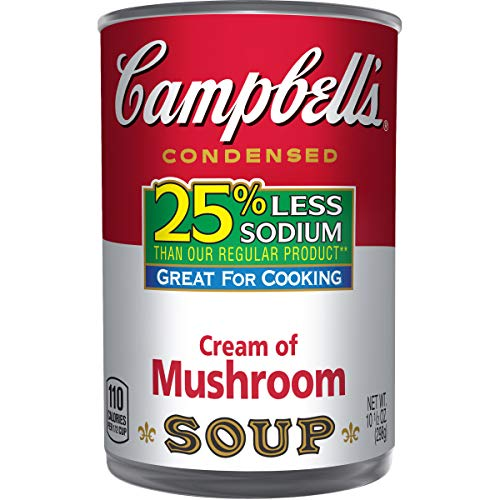 Campbell's 25% Less Sodium Condensed Soup, Cream of Mushroom, 10.5 Ounce (Pack of 12) (Packaging May Vary) ()
