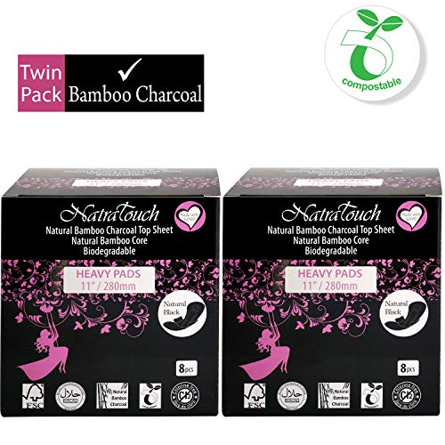 NATRATOUCH ~ COMPOSTABLE ~ Natural Bamboo Charcoal Sanitary Pads (Heavy - 2 Pack Total 16 Count)