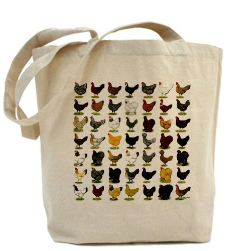 CafePress - 49 Hen Breeds Tote Bag - Natural Canvas Tote Bag, Cloth Shopping Bag (Chicken Egg Bag)