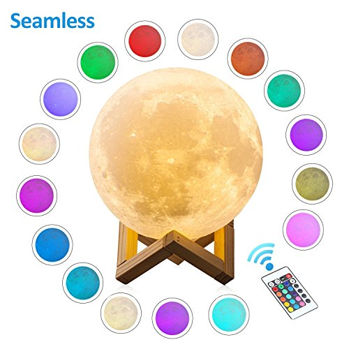 Gahaya 16 Colors Seamless Moon Lamp, Remote & Touch Control, Unibody Forming 3D Printed, PLA material, USB Recharge, Diameter 7.1