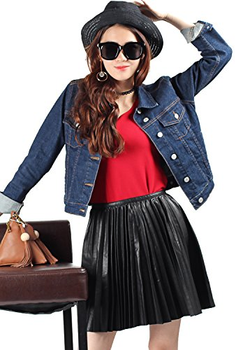 VANTOO Denim Jacket Classic Long Sleeve Button Down Jean Jacket With Pockets For Women Blue (Small) (Small Denim Jacket)