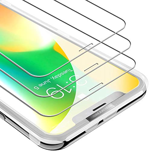 UNBREAKcable iPhone Xs/X Screen Protector [3-Pack], [Free Installation Frame] 9H Premium Tempered Glass Screen Protector for iPhone Xs/iPhone X, Face ID Protective, Case Friendly