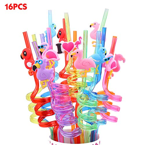 - Jellydog Toy Flamingo Party Favors, 16 PCS Reusable Straws, Flamingo Drinking Plastic Straws,Flamingo Party Supplies,Party Decorations for Kids Girls