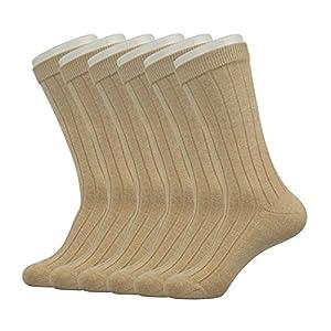 Enerwear Men's Classics Dress Flat Knit Crew Socks Pack of 6 (One Size Fit Most, Khaki)