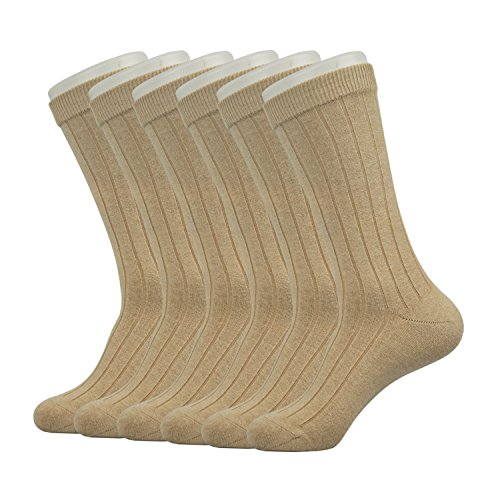 Enerwear Men's Classics Dress Flat Knit Crew Socks Pack of 6 (One Size Fit Most, Khaki) by Enerwear