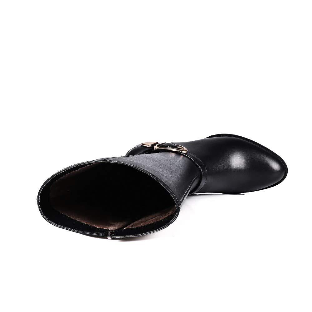 Nine Seven Genuine Leather Womens Round Toe Chunky Heel Classic Basic Handmade Amazing Knee High Boots