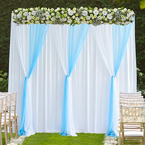 - White Blue Tulle Backdrop Curtains Photo Backdrop for Weddings Birthday Parties Baby Shower Photography Drape Backdrop Stage Curtain 10 ft X 7 ft