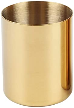Pencil Cup Holder Desk Organizer Gold Pen Pot Pen Holder Container Desktop Stationery Organizer Table Vases Flower Pot Makeup Brush Holder,Stainless Steel,Gold