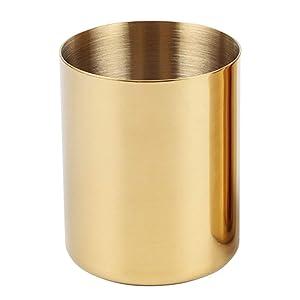 Pencil Cup Holder Desk Organizer, Gold Pen Pot Pen Holder Container Desktop Stationery Organizer Table Vases Flower Pot Makeup Brush Holder,Stainless Steel,Gold
