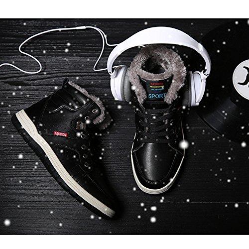 ukStore Outdoor Herren Winterschuhe Warm Gefütterte Stiefel Winterstiefel Wasserdicht Schneestiefel Schnür Kurzschaft Boots Winter Sneaker Schwarz