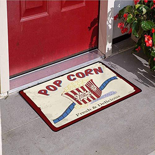 (Jinguizi Movie Theater Universal Door mat Fresh and Delicious Pop Corn Film Tickets and Strip Advertising in 60s Theme Door mat Floor Decoration W19.7 x L31.5 Inch Multicolor)