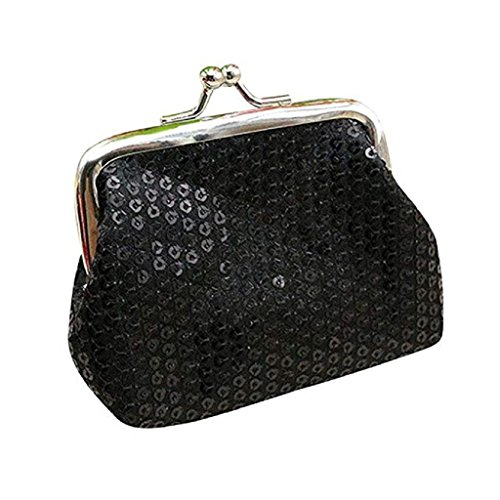 Womens Coin Ladies Purse Wallet Wallet Retro Wallet Sequin 2018 Clearance Noopvan Small Clutch Black Handbag wI78xZ