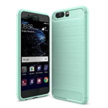MOONCASE Huawei P10 Case, Carbon Fiber Resilient [Drop Protection] [Anti-Scratch] Rugged Armor Case Cover for Huawei P10 Mint Green