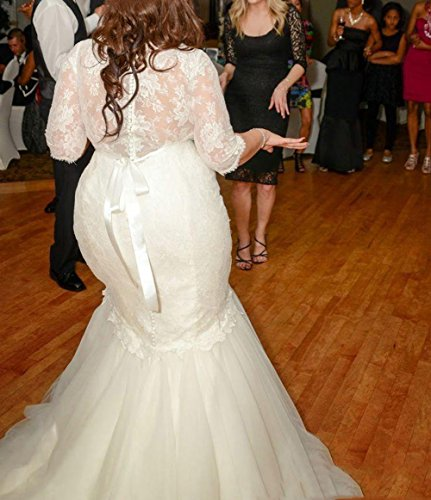 Dreamdress Women's Lace Mermaid Wedding Dresses Plus Size Bridal Gowns (28Plus, White)