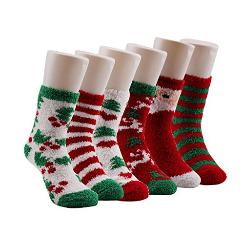 Christmas Socks,Winter Warm Fuzzy Fluffy Soft Cozy Socks(6 Pairs) Christmas Stocking Sock