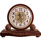 XHRHao Chimenea Reloj Números Árabes Dial Powered Escritorio Relojes De Madera Creativa Retro Individualidad Turística Europea Reloj Reloj Manto De Silencio, De La Batería (Color : Marrón)