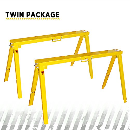 Saw Package - Heavy Duty Folding Adjustable Sawhorse - Twin package metal sawhorse, Frontier qualified Easy folding and unfold, Adjustable Height for uneven Floor SH3802 (2)