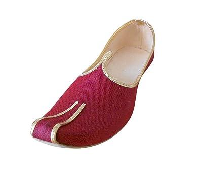 kalra Creations Hombre tradicional indio seda zapatos de novio, color crema, talla 40.5 EU M