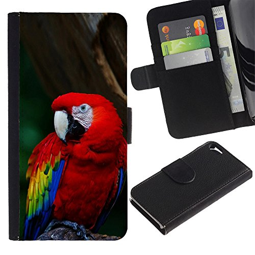OMEGA Case / Apple Iphone 5 / 5S / Cool Parrot / Cuir PU Portefeuille Coverture Shell Armure Coque Coq Cas Etui Housse Case Cover Wallet Credit Card
