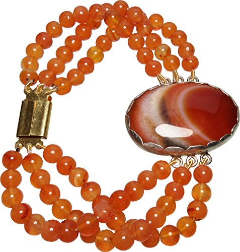 Aldomin Picture Jasper With Carnelian Healing Crystal Three Strand Bracelet