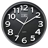 Plumeet Large Number Wall Clock, 13' Silent Non-Ticking Quartz Decorative Wall Clock, Modern Style Good for Living Room & Home & Office Battery Operated (Black)